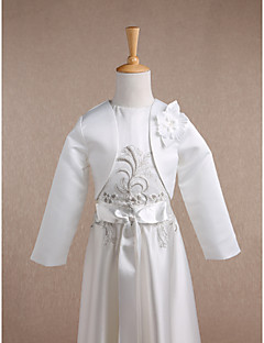 cheap Wedding Wraps-Long Sleeves Satin Wedding Party Evening Kids' Wraps With Flower Shrugs