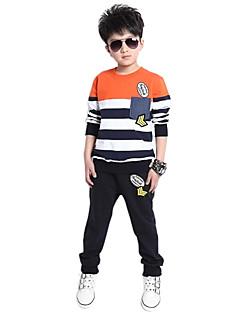 tanie Odzież dla chłopców-Komplet odzieży Bawełna Dla chłopców Codzienny Prążki Wiosna Jesień Długi rękaw Kreskówka Prążki Orange Green