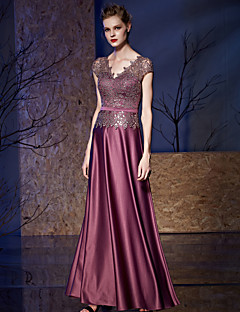 A-Line V-neck Floor Length Satin Sequined Prom Formal Evening Dress with Sash / Ribbon Sequins by Vanedress