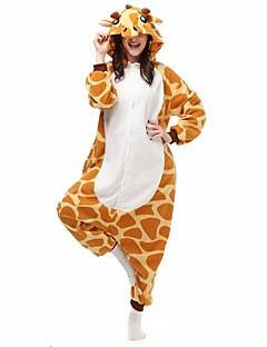 baratos Pijamas Kigurumi-Pijamas Kigurumi Girafa Pijamas Macacão Ocasiões Especiais Flanela Tosão Laranja Cosplay Para Adulto Pijamas Animais desenho animado Dia