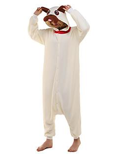 billige Kigurumi-Kigurumi Pyjamas Trikot/Heldraktskostymer Festival/høytid Pysjamas med dyremotiv Halloween Beige Dyremønster Polar Fleece Kigurumi Til