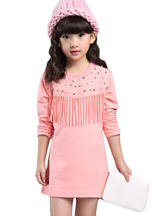 Girl's Cotton  Spring/Autumn Round Neck Tassels Long Sleeve Long T-Shirt Dress