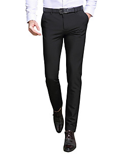 Men's Mid Rise Inelastic Slim Business Pants,Simple Solid