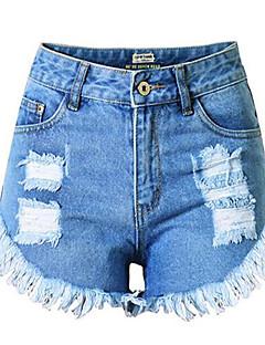 お買い得  ショーツ-女性用 プラスサイズ ジーンズ パンツ ソリッド