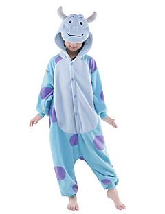 billige Kigurumi-Barne Kigurumi-pysjamas Monster Blå Monster Onesie-pysjamas Polar Fleece Blå Cosplay Til Gutter og jenter Pysjamas med dyremotiv Tegnefilm Halloween Festival / høytid