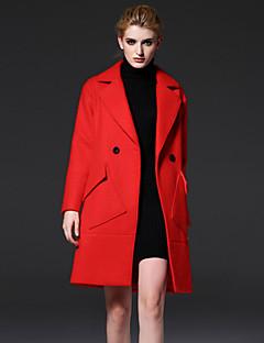 Χαμηλού Κόστους Γυναικεία Πανωφόρια-επίσημη απλό coatsolid εγκοπή πέτο μακρύ μανίκι χειμώνα κόκκινο / κίτρινο μαλλί / πολυεστέρα μέσο frmz γυναικών