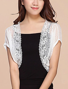 cheap Women's Sweaters-Women's Work Sexy Street chic Lace Mesh Solid Stand Cloak / Capes, Short Sleeves Summer Cotton