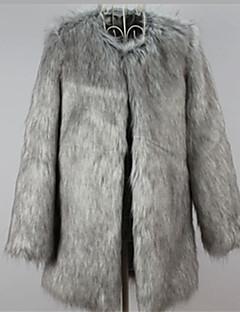 Χαμηλού Κόστους -Γυναικεία Μεγάλα Μεγέθη Γούνινο παλτό Δουλειά Βίντατζ - Μονόχρωμο Φαρδιά