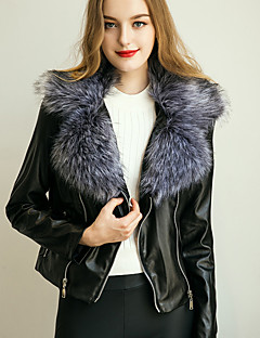 Women's Daily / Formal Vintage / Street chic Winter Jackets  Solid V Neck Long Sleeve Brown / Gray Faux Fur / PU