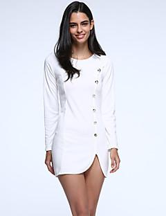 Gaine Robe Femme Décontracté / Quotidien Grandes Tailles simple,Couleur Pleine Col Arrondi Mini Manches Longues Coton AutresPrintemps