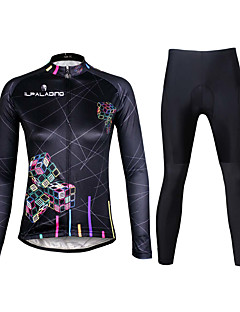 cheap Cycling Clothing-ILPALADINO Women's Long Sleeves Cycling Jersey with Tights - Black Bike Clothing Suits, 3D Pad, Quick Dry, Ultraviolet Resistant,