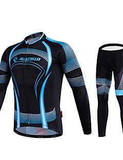 Malciklo חולצה וטייץ לרכיבה בגדי ריקוד גברים שרוול ארוך אופניים בגדים צמודים טייץ רכיבה על אופנייםייבוש מהיר רוכסן קדמי לביש חדירות גבוהה