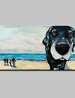 tanie Pejzaże abstrakcyjne-Hang-Malowane obraz olejny Ręcznie malowane - Pop art Nowoczesny / Fason europejski Brezentowy / Rozciągnięte płótno