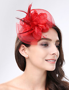 cheap Flower Girl Headpiece-Feather Net Fascinators Headwear with Floral 1pc Wedding Special Occasion Headpiece
