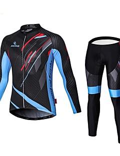 Malciklo タイツ付きサイクリングジャージー 男性用 長袖 バイク コンプレッションウェア サイクリングタイツ 速乾性 フロントファスナー 耐久性 高通気性 (>15,001g) 高通気性 ビデオ圧縮 軽量素材 3Dパッド 超軽量生地 低摩擦 滑らか 快適