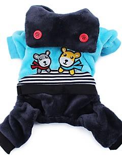billiga Hundkläder-Hund Jumpsuits Hundkläder Tecknat Ros Blå Manchester Kostym För husdjur Herr Dam Gulligt