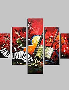 tanie Pejzaże abstrakcyjne-Hang-Malowane obraz olejny Ręcznie malowane - Abstrakcja / Krajobraz / Pejzaż abstrakcyjny Nowoczesny Brezentowy / Pięć paneli / Rozciągnięte płótno