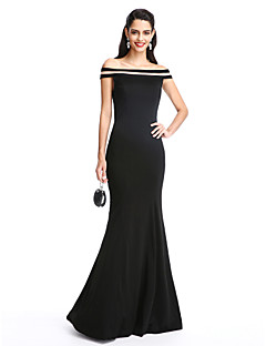 cheap -Mermaid / Trumpet Off Shoulder Floor Length Jersey Formal Evening Dress with Pleats by TS Couture®