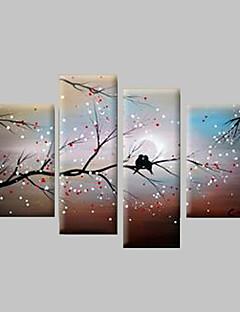 tanie Pejzaże abstrakcyjne-Ręcznie malowane Krajobraz Dowolny kształt Brezentowy Hang-Malowane obraz olejny Dekoracja domowa Cztery panele