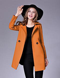 レディース お出かけ ワーク 冬 秋 コート,ストリートファッション Vネック 純色 ロング ウール その他