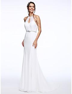 Mermaid / Trumpet Halter Court Train Chiffon Organza Wedding Dress with Beading Sash / Ribbon by LAN TING BRIDE®