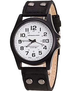 Pánské Náramkové hodinky Křemenný Kalendář Kůže Kapela Cool Běžné nošení Černá Bílá Hnědá