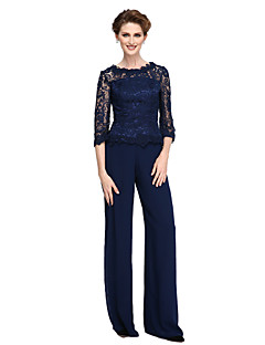 cheap Mother of the Bride Dresses-Sheath / Column Pantsuit Jewel Neck Floor Length Sheer Lace Georgette Mother of the Bride Dress with Lace by LAN TING BRIDE®