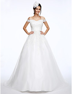 cheap Wedding Dresses-Ball Gown Off Shoulder Court Train Organza / Beaded Lace Made-To-Measure Wedding Dresses with Beading / Appliques by LAN TING BRIDE®