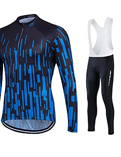 billige Sett med sykkeltrøyer og shorts/bukser-Fastcute Herre Dame Langermet Sykkeljersey med bib-tights - Svart Sykkel Tights Med Seler Tights Jersey Klessett, 3D Pute, Fort Tørring,