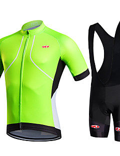 cheap Cycling Jersey & Shorts / Pants Sets-Fastcute Men's Short Sleeves Cycling Jersey with Bib Shorts - Green Bike Shorts Bib Shorts Bib Tights Jersey Jacket Clothing Suits, 3D