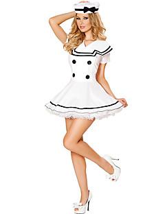 Matros karriere Kostymer Cosplay Kostumer Party-kostyme Kvinnelig Halloween Oktoberfest Festival/høytid Halloween-kostymer Hvit Ensfarget