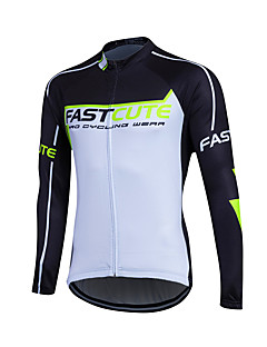 お買い得  サイクリングジャージ-Fastcute サイクリングジャージー 男性用 長袖 バイク トップス 保温 防風 フリース クラシック 冬 サイクリング/バイク レッド グリーン ブルー
