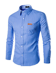 Men's Casual/Daily Work Simple Spring Fall Shirt,Plaid Classic Collar Long Sleeves Cotton Medium