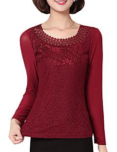 billige Plusstørrelser-Dame - Ensfarvet, Blonder T-shirt Polyester