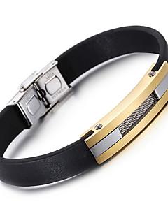 preiswerte Kalen®-Herrn Edelstahl Leder Lederarmbänder - Modisch Geometrische Form Schwarz Armbänder Für Party Jahrestag Geburtstag