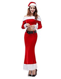 billige Halloweenkostymer-Nisse drakter Party-kostyme Dame Jul Karneval Nytt År Festival / høytid Halloween-kostymer Rød Ensfarget Sexy Uniformer Flere Uniformer