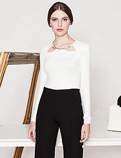 Majica s rukavima Žene,Jednostavno Izlasci Jednobojni-Dugih rukava Okrugli izrez-Proljeće / Jesen Bijela / Crna Neprozirno Pamuk