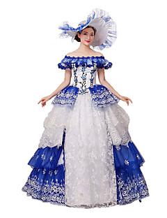 Wiktoriańskie Rococo Kostüm Kadın's Parti Kostümleri Maskeli Balo Mavi Eski Tip Cosplay Dantel Pamuk Kaplı Kol Yere Kadar