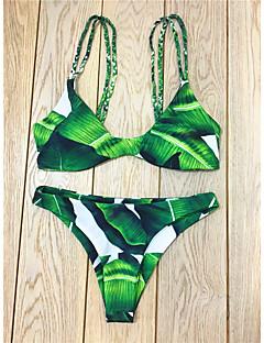 Kvinner Ensfarget / Geometrisk / Snøring Halter Bikini Polyester