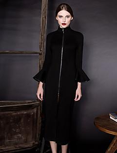 hesapli MASKED QUEEN®-Kadın's Kılıf Elbise - Solid, Fırfırlı Bölünmüş Boğazlı