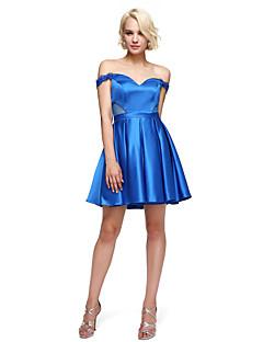 A-line off-the-shoulder scurte / mini stretch satin cocktail petrecere rochie de balet de îmbrăcăminte cu beading de ts couture®