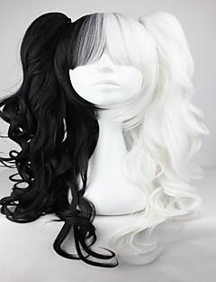 Kadın Sentetik Peruklar Bonesiz Dalgalı Siyah/Beyaz Örgülü Peruk Afrikalı Örgüsü Cosplay Peruk Lolita Peruk Cadılar Bayramı Peruk