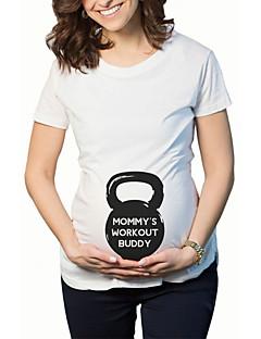 Schwangerschaft Solide Niedlich Lässig/Alltäglich T-shirt,Rundhalsausschnitt Sommer Kurzarm Blau / Weiß Baumwolle / Elasthan Dünn