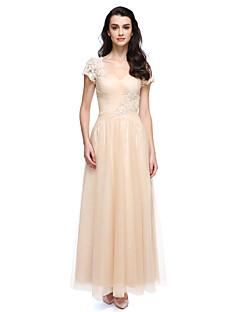 billiga Balklänningar-A-linje Prydd med juveler Ankellång Spets Tyll Bal Klänning med Spets av TS Couture®