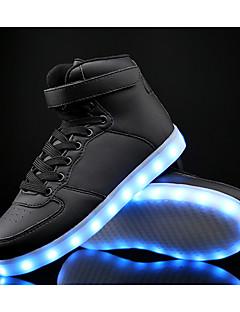 baratos -Para Meninos Sapatos Pele / Couro Ecológico Primavera Conforto / Tênis com LED Tênis para Branco / Preto / Azul