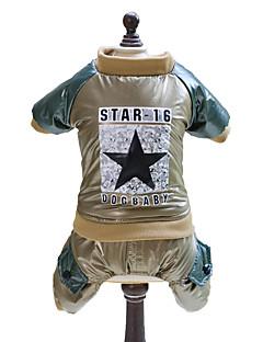billiga Hundkläder-Hund Jumpsuits Hundkläder Stjärnor Guld Grön Cotton Kostym För husdjur Herr Dam Mode