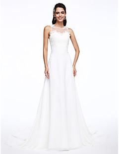 billiga A-linjeformade brudklänningar-A-linje Prydd med juveler Hovsläp Chiffong Bröllopsklänningar tillverkade med Applikationsbroderi av LAN TING BRIDE® / Genomskinliga