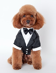 cheap Dog Clothes-Cat Dog Tuxedo Dog Clothes Bowknot Black Cotton Costume For Pets Men's Cute Cosplay Wedding