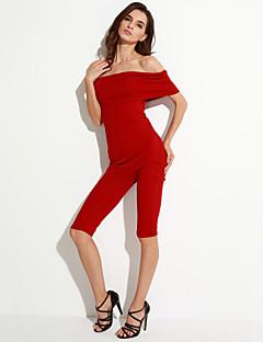 婦人向け セクシー ポリエステル / スパンデックス ジャンプスーツ,伸縮性あり 薄手 半袖