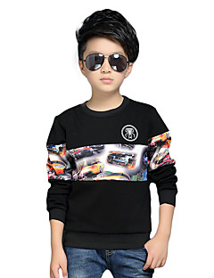 Boy's Round Collar Casual/Daily Cartoon Print / Patchwork Fleece Lining Hoodie & Sweatshirt